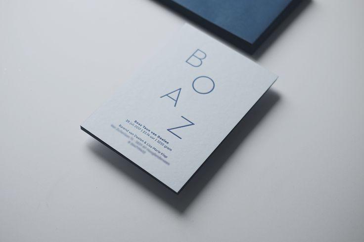 BOAZ letterpress birthannouncement by studio sijm