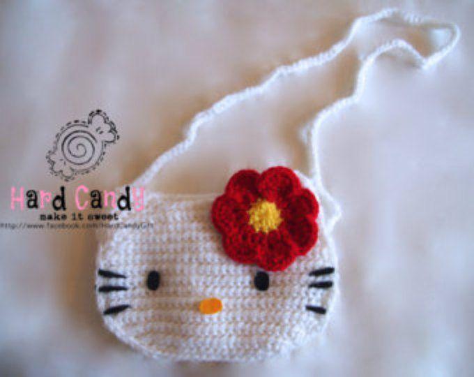 /Purse bolso de Hello Kitty de ganchillo para niña