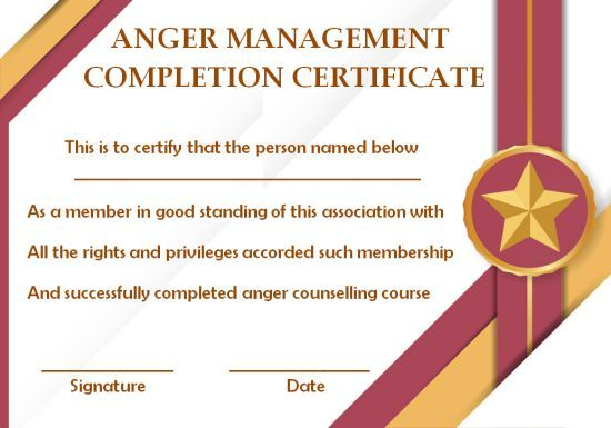 anger management certificate  15 templates with editable