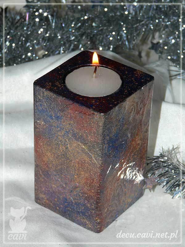 świecznik drewniany miki