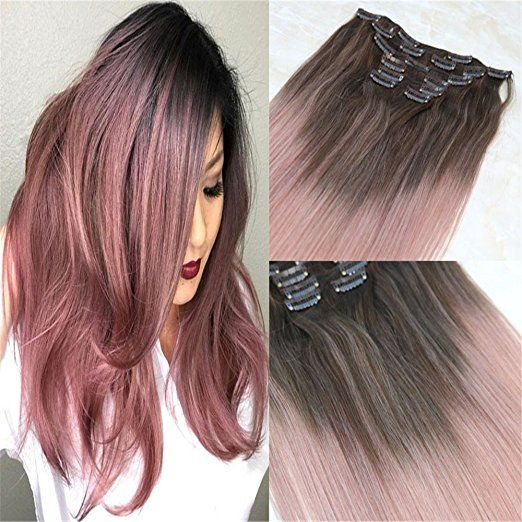 HairDancing 120 Gram Balayage Ombre Color Medium Brown Fading To Rose Gold Extensions Of Remy Human Hair Clip In Real