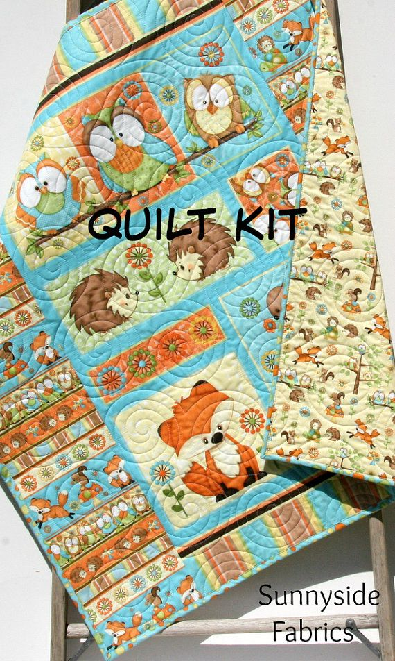 Quilt Kit Hoot Hoot Hooray Panel Gender Neutral Boy Or