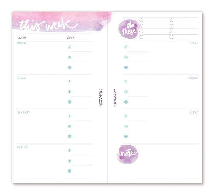 FREE printable Personal & A5 weekly planner pages  #filofax                                                                                                                                                                                 More