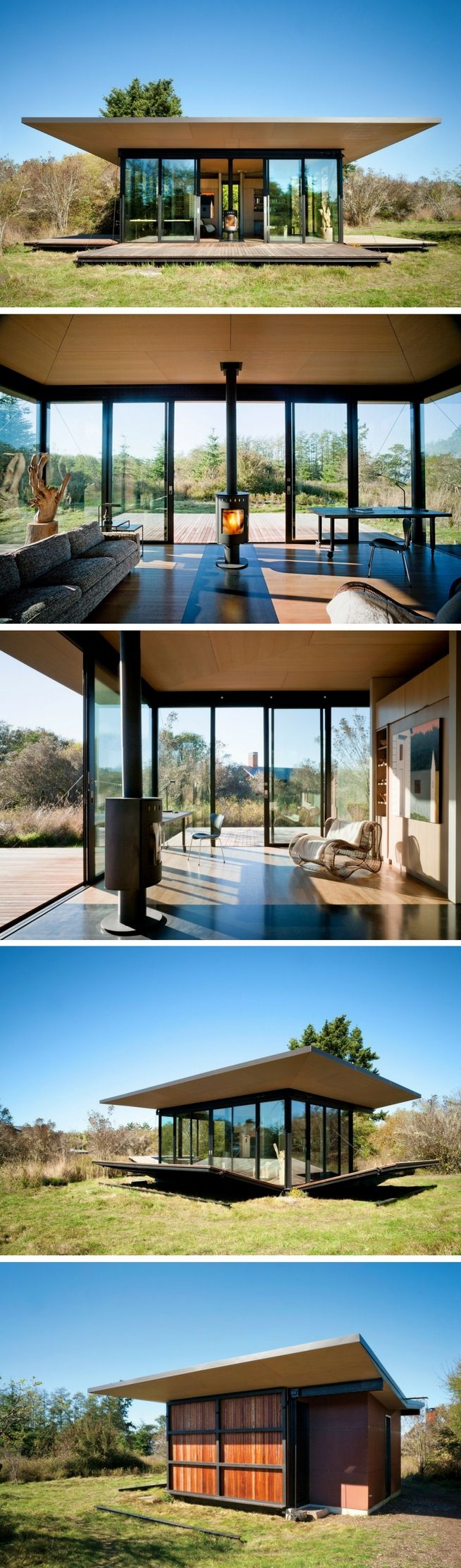 The False Bay Writer's Retreat. A stunning, modern cabin with a unique design that allows the home's wrap-around porch to be raised against the home to allow for privacy.