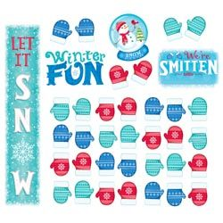 Prepare your class for winter weather. Cute bulletin board set features a large Let It Snow vertical banner, We're Smitten With sign, Winter Fun sign, Snow Much Fun snow globe and 36 mittens. Mittens can be used for student names, decorative accents, patterning and sorting activities, and more. Comes with an activity guide containing ideas and a reproducible worksheet. UA