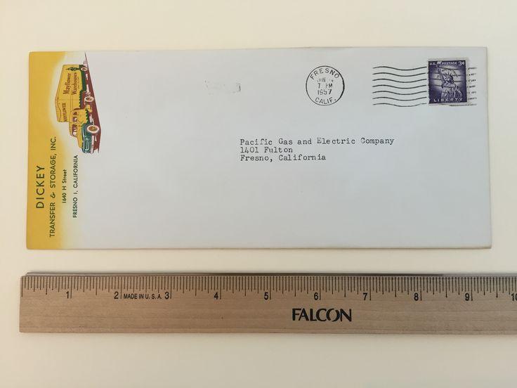 4u201dx 9 ½u201d Condition: Very Good U2013 Yellowing Due To Age And Very Slight  Creases Dickey Transfer U0026 Storage, Inc. 1640 H Street Fresno 1, California  Postmark: ...