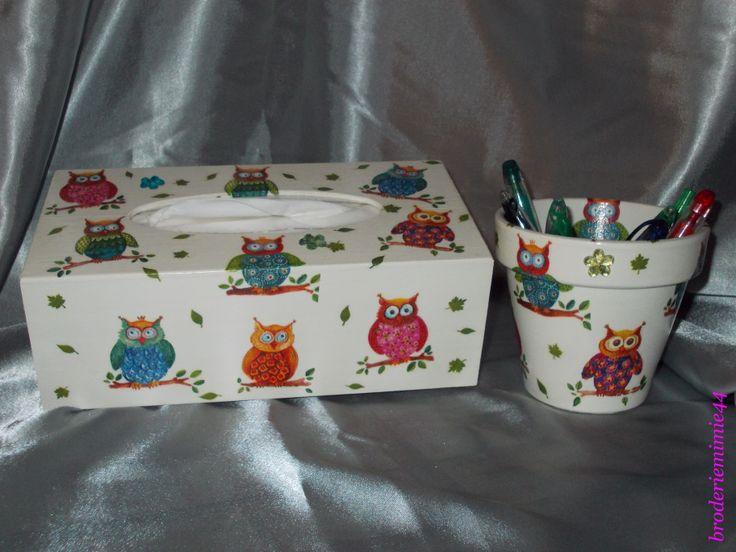 collage serviette papier brillant chouettes boite mouchoirs pot d coration blog. Black Bedroom Furniture Sets. Home Design Ideas