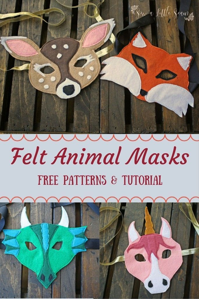 I'm excited to share with you all this super easy tutorial for making felt animal masks. Plus you can find a free pattern for the four masks shown here. My kids loved them and had fun galloping around the house…I may have joined in the fun! Two of the pat