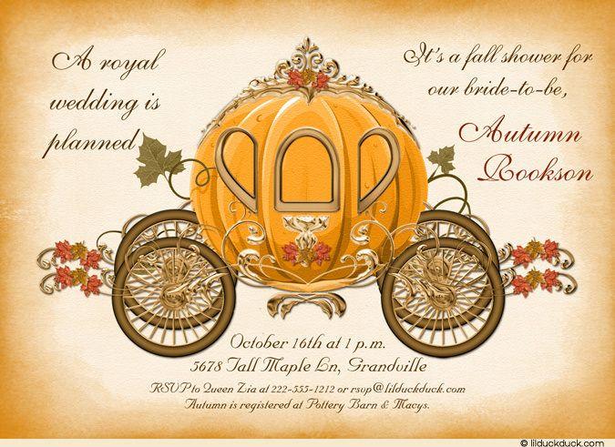 Fall-Themed+Bridal+Shower | Cinderella Bride Fall Shower Invitation - Royal Enchanted Wedding