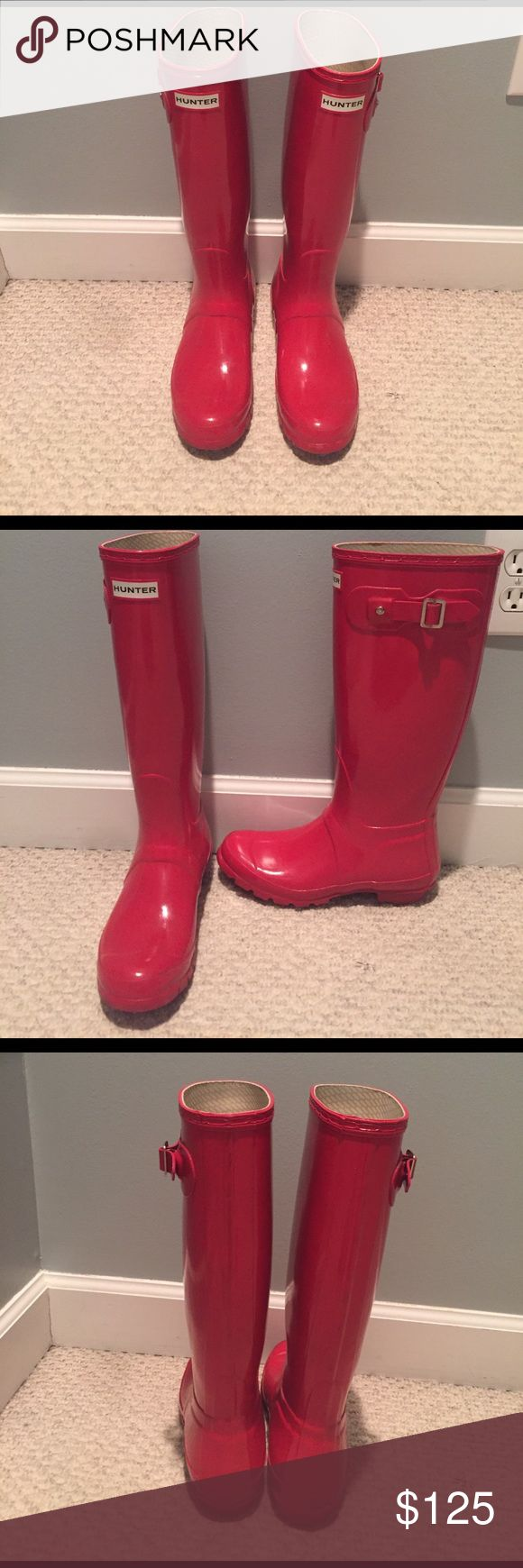 Hunter original tall gloss rain boots These are the women's original tall gloss rain boots in red. Size 7. In great condition. Hunter Boots Shoes Winter & Rain Boots