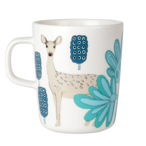 Marimekko Kaunis Kauris White/Turquoise Mug - oemotståndligt rådjur!