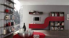 arredamento soggiorno grigi e rosso