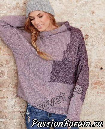 Модный пуловер оверсайз с интарсией для женщин со схемами и бесплатным описанием вязания. Техника вязания «интарсия» по своему воплощению схожа с жаккардовыми узорами.