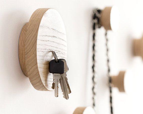 Magnetic key rack, wall hook, 2 in 1, wooden coat hanger, key hanger, modern entryway decor