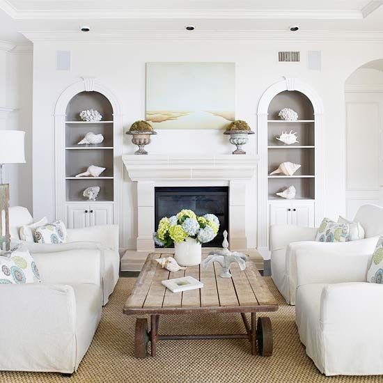 four chairs & no sofa....love...plus the gray built-ins are beautiful