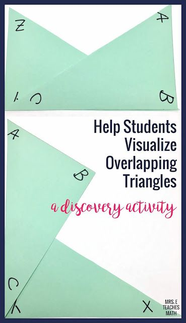 This is an activity to help students visualize overlapping triangles. It is perfect for a congruent triangles unit!