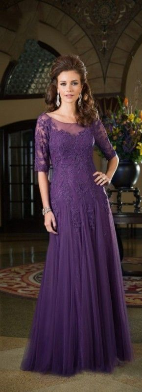 2015 New Fashion Half Sleeves Appliques Purple Mother of the Bride Lace Dresses Plus Size