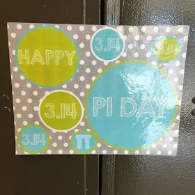 For every new holiday I changes the front of my classroom door. Each child gets a pi symbol cut out with their name on it.   ...