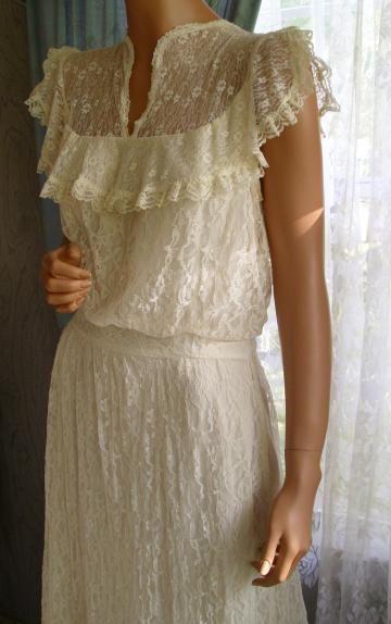 Vintage gunne sax dress ecru lace wedding just awesome for Gunne sax wedding dresses