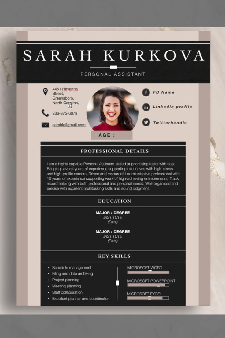 """Resume Template . """"Neutral"""". Instant Download. Word. Pages"""