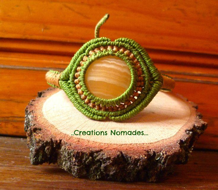 bracelet macramé calcite jaune