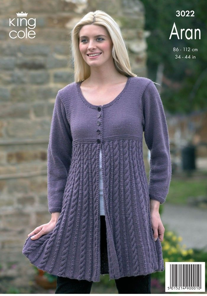 Jacket and Coat Dress in King Cole Merino Blend Aran - 3022 - Dresses - Project - Patterns