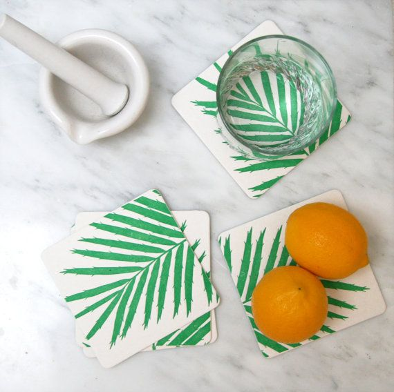 Southern Palm Frond: Reusable Letterpress Paper Coasters in Green