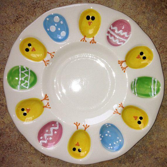 Deviled Egg Plate - Easter Eggs and Chicks
