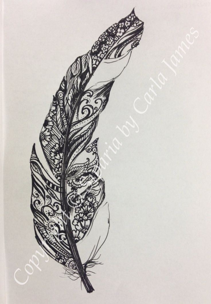 Feather drawing in black ink. by Siparia on Etsy