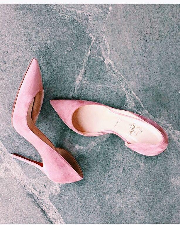"cupcakekristie: ""louboutin | iriza d'orsay pink suede "" Shoe porn"