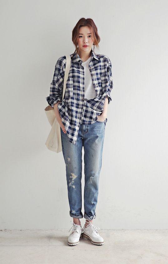 white tee, plaid shirt, jeans, white sneakers