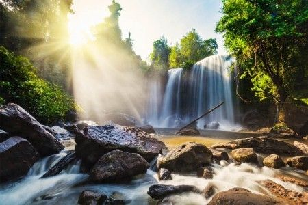 Tropical waterfall in Cambodia. Find amazing photographic art from our carefully selected collections. Make your walls in the living room or bedroom more colorful.