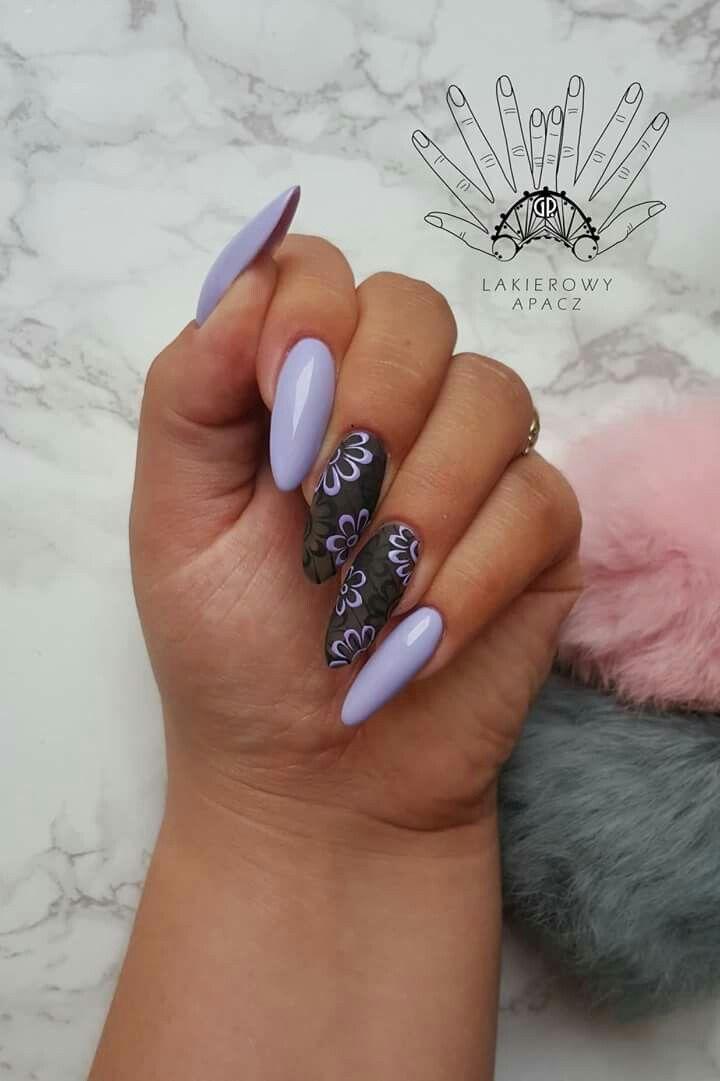Zdjecie Pozyczone Paznokcie Hybrydowe Fioletowe Czarne Kwiatki Sliczne Manicure Nail Designs Summer Nails