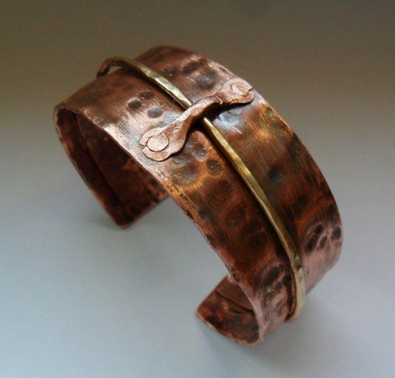 Hammered Copper Cuff Bracelet with Brass Wire