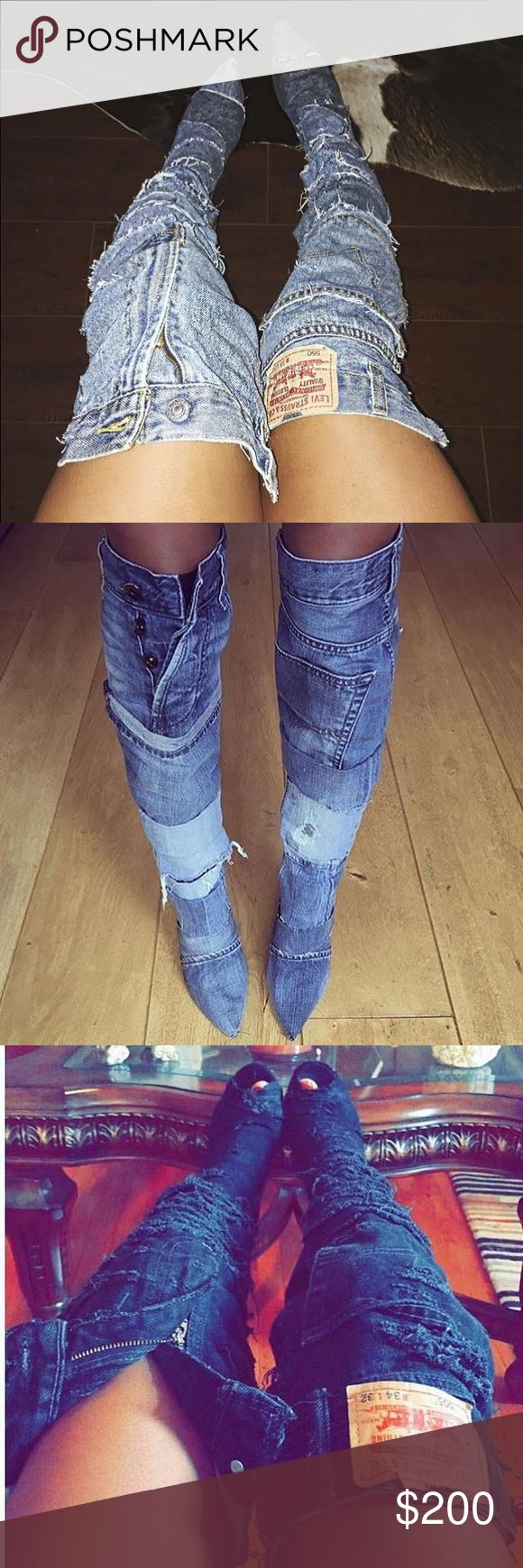 Denim boots (made to order!!!) thigh highs Any size available, ANY WASH & Great quality! Just comment style, wash color & size! Short or long style available! Tall or short heels available Rihanna Shoes Over the Knee Boots