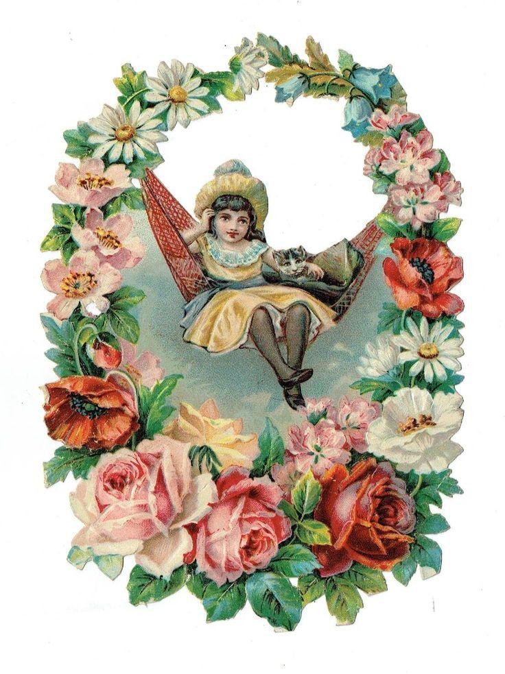 Un chromo - Découpis - Enfant sur balançoire et fleurs  fr.picclick.com