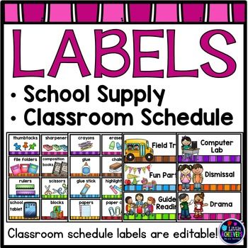Labels - School Supply Labels and Schedule Cards