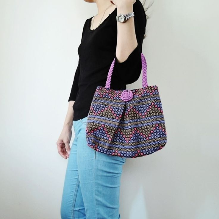 Hmong Tribe Handbag Embroidery Bags Handmade Cross Stitch Purse Women Purple S #Unbranded #HandBag