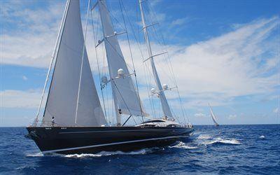 壁紙をダウンロードする 大型ヨット, ヨット, 波, 海洋, スカイ