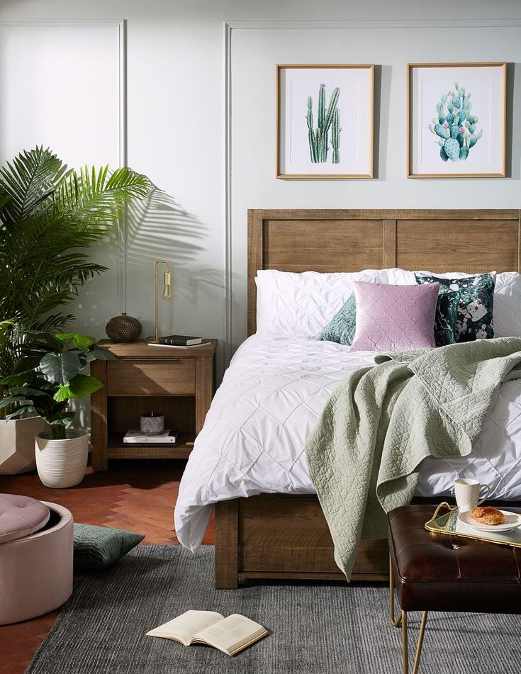 ANSELM Grey acacia wood queen size bed with storage Str
