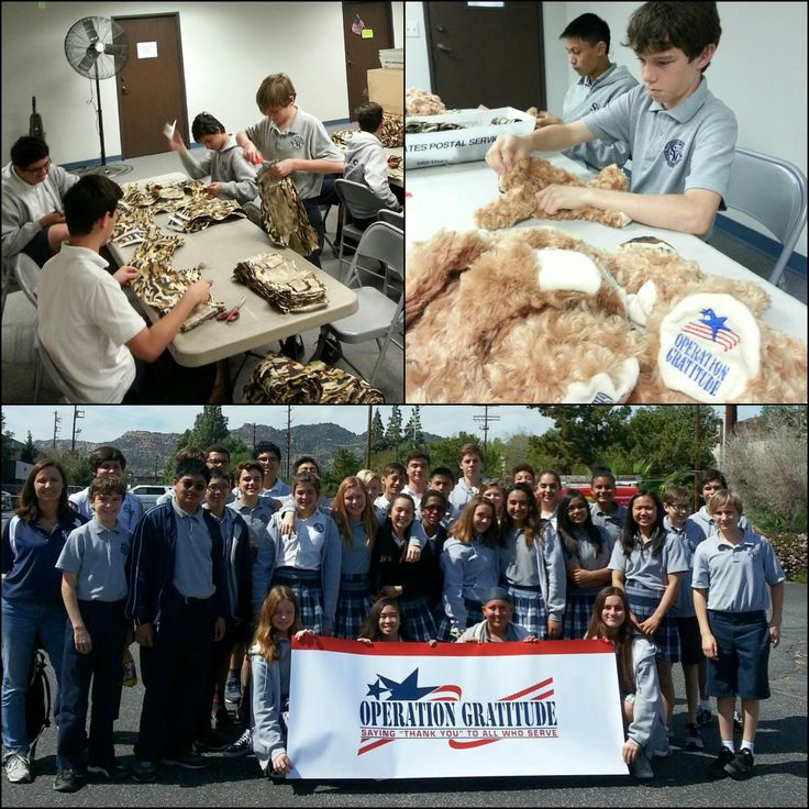 We love our #OperationGratitude volunteers, like these great students & teachers from St. Monica Elementary School! #SupportourTroops #BattalionBuddies