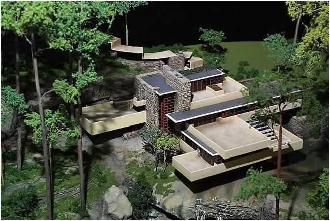 Maquete da casa da cascata de Frank Lloyd Wright