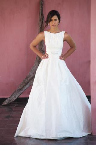 Figaro by Marylise - Dupion Silk High Neck Wedding Dress. Loooooooooove the neckline, not so much the bottom half though