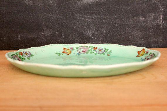 Vintage Homer Laughlin Green Serving Platter by GatherAndDisperse, $18.00