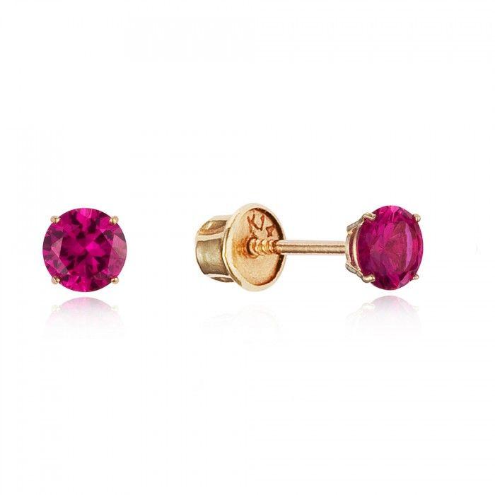Baby and Children's Earrings:  14k Gold Ruby CZ Screw Back Earrings.  Kids' earrings from Baby Jewels.