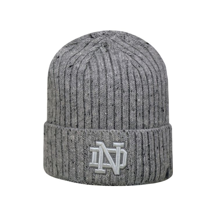 Adult Top of the World Notre Dame Fighting Irish Two Below Beanie, Men's, Med Grey
