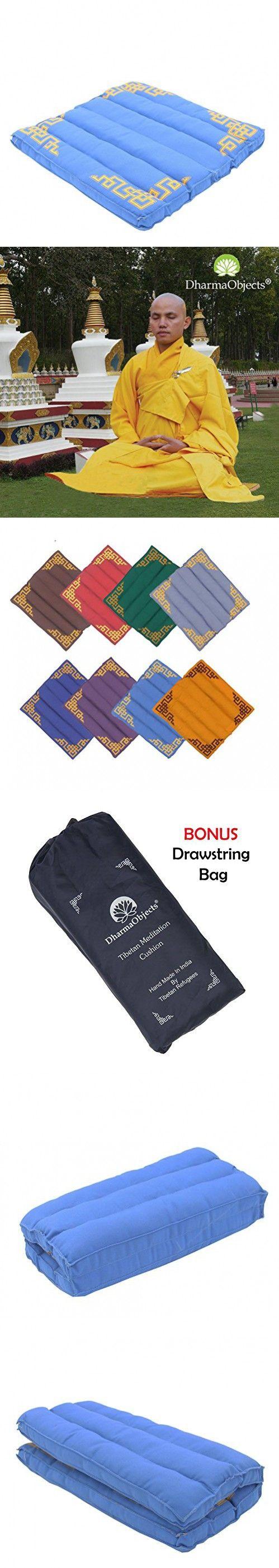 "DharmaObjects Traditional Tibetan Yoga Meditation Accessory Cotton Mat Cushion (Turquoise, 15"" X 14"" X 1.5"")"