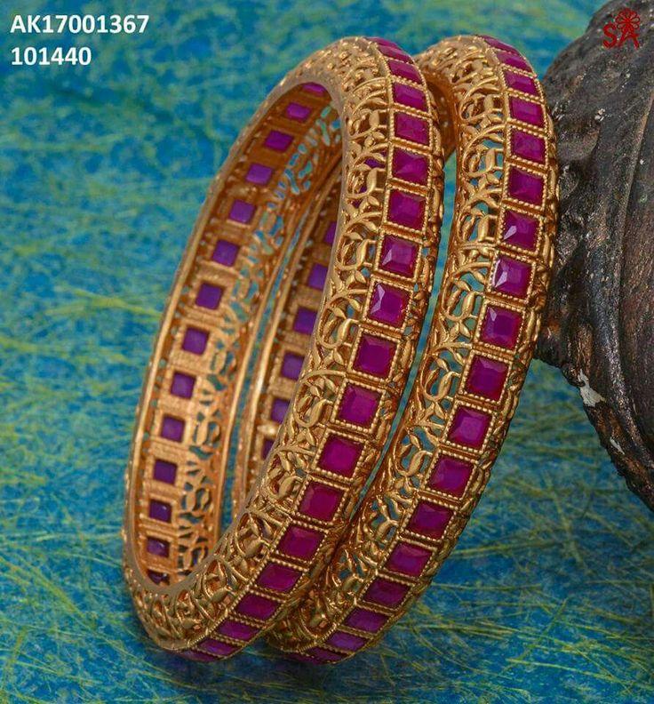gold ruby jaraoo kangan Bangles