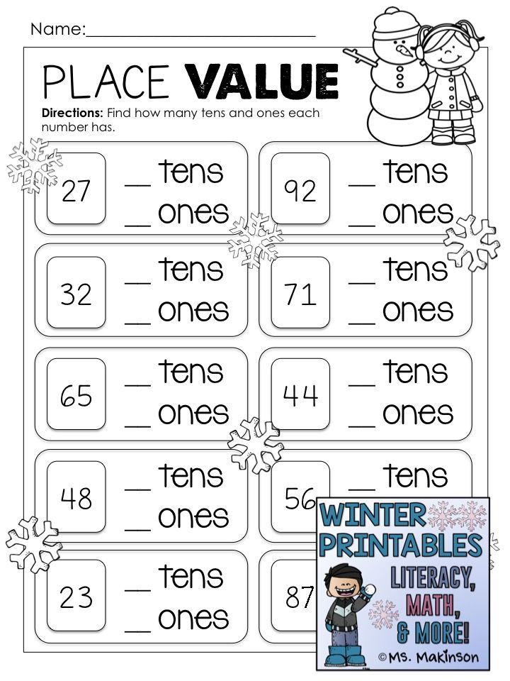 Winter Printables Literacy Math Science Kids Math Worksheets 1st Grade Math Worksheets 2nd Grade Math Worksheets Place value worksheets for kindergarten