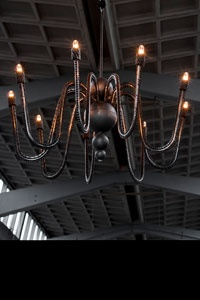 chandelier made of welded bicycle chains